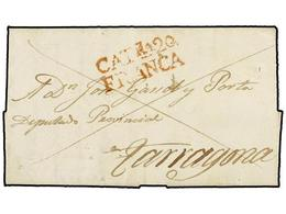 18 ESPAÑA: PREFILATELIA. 1842. IGUALADA A TARRAGONA. Marca<B> CATÑA20/ FRANCA</B> En Rojo (nº 8). EXTRAORDINARIAMENTE RA - Timbres