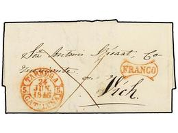 20 ESPAÑA: PREFILATELIA. 1846. TARREGA A VICH. Fechador<B> TARREGA/CATALUÑA</B> Y <B>FRANCO</B> Ambas En Rojo. MAGNÍFICA - Timbres