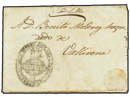 22 ESPAÑA: PREFILATELIA. 1847. AGUTS A VALLIRANA. Carta Del Servicio Oficial Fechada E PALLEJA. Preciosa Marca Ovalada<B - Timbres