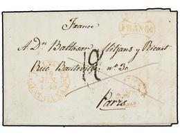 23 ESPAÑA: PREFILATELIA. 1849. VILLANUEVA Y GELTRU A FRANCIA. Fechador <B>VILLVA Y G./CATALUÑA</B> Y <B>FRANCO.</B> MUY  - Timbres