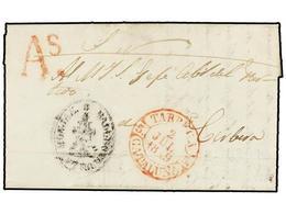 24 ESPAÑA: PREFILATELIA. 1849. VALLBONA DE LAS MONJAS A CORBERA. Fechador <B>TARREGA/CATALUÑA </B>y Marca <B>As</B> De A - Timbres