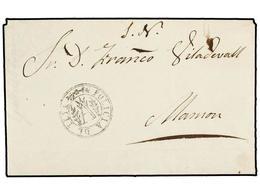 25 ESPAÑA: PREFILATELIA. 1852. TEYA A MASNOU. Marca Circular<B> POLICIA DE TEIA.</B> PRECIOSA. - Timbres