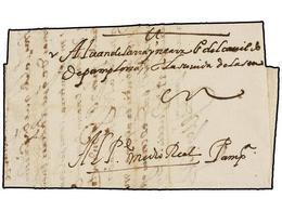 27 ESPAÑA: PREFILATELIA. 1597. MADRID A PAMPLONA. Carta Completa, Manuscrito <I>'Pte Medio Real'.<B> </B></I>RARA. - Timbres