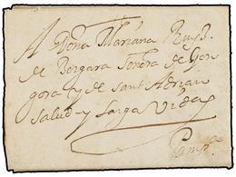 29 ESPAÑA: PREFILATELIA. 1617. ORBAIZETA (Navarra) A PAMPLONA. Carta Completa, Sin Indicación De Porte. - Timbres
