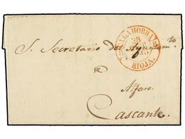 32 ESPAÑA: PREFILATELIA. 1845. CALAHORRA A CASCANTE. Fechador <B>CALAHORRA/RIOJA</B> En Rojo. MUY BONITA. - Timbres