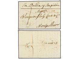 36 ESPAÑA: PREFILATELIA. 1816. BENICARLO A FRANCIA. Marca Al Dorso<B> BE/VALENCIA</B> En Tinta De Escribir (nº 5) Y En E - Timbres