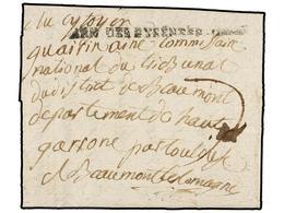 37 ESPAÑA: PREFILATELIA. 1793. <B>EJÉRCITOS FRANCESES. </B> LA JUNQUERA A  FRANCIA. Marca<B> ARM. DES PYRENNES ORIENTS</ - Timbres