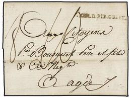 38 ESPAÑA: PREFILATELIA. 1794. <B>EJÉRCITOS FRANCESES.</B> FIGUERES A FRANCIA. Marca<B> ARM. D. PIR. ORIEN. </B>en Negro - Timbres