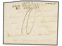 41 ESPAÑA: PREFILATELIA. 1811. <B>EJÉRCITOS FRANCESES.</B> SAN SEBASTIÁN A FRANCIA. Marca <B>Nº 43/ARM. FRANCAISE/EN ESP - Timbres
