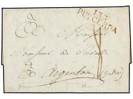 45 ESPAÑA: PREFILATELIA. 1812. <B>EJÉRCITOS FRANCESES. </B>PUIGCERDA A FRANCIA. Marca<B> 133</B> <B>PUYCERDA</B> En Rojo - Timbres
