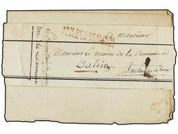 46 ESPAÑA: PREFILATELIA. 1813. <B>EJÉRCITOS FRANCESES. </B>HOSPITAL MILITAR DE FIGUERAS A FRANCIA. Extracto Mortuorio De - Timbres