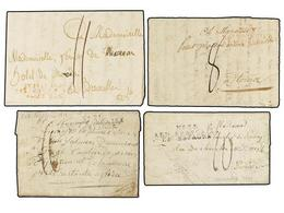 48 ESPAÑA: PREFILATELIA. 1810-11. <B>EJÉRCITOS FRANCESES. </B>Cuatro Cartas Con Marcas De La Ocupación Francesa En Españ - Timbres