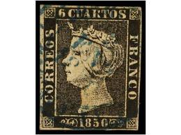 49 ° ESPAÑA. Ed.1. <B>6 Cuartos</B> Negro, Pl. I, Mat. Fechador<B> BARCELONA/2-ENE-1850</B> (CATALUÑA En AZUL). MAGNÍFIC - Timbres
