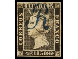 52 ° ESPAÑA. Ed.1. <B>6 Cuartos</B> Negro, Pl. I, Mat. <B>R</B> De BARCELONA En Azul. PRECIOSO. - Timbres