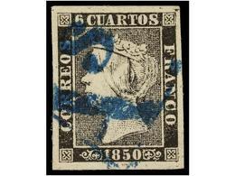 53 ° ESPAÑA. Ed.1. <B>6 Cuartos</B> Negro, Pl. I, Tipo V. Mat. <B>As</B> De BARCELONA En AZUL. Márgenes Excepcionales. - Timbres