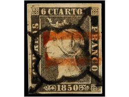 55 ° ESPAÑA. Ed.1. <B>6 Cuartos</B> Negro, Pl. I, Mat.<B> ARAÑA</B> Y <B>11 </B>de BARCELONA En Rojo. MAGNÍFICO Y MUY RA - Timbres