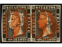 57 ° ESPAÑA. Ed.1. <B>6 Cuartos</B> Negro, Pl. I Tipos 10, 11 Pareja Horizontal, Mat.<B> 'O' </B>en Rojo De TORRELAVEGA. - Timbres