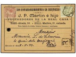 314 ESPAÑA. Ed.220, 224. 1899. Etiqueta Tarjeta Para Paquete Postal De <B>J.P. MARTIN E HIJO</B> De MADRID Circulada A P - Timbres