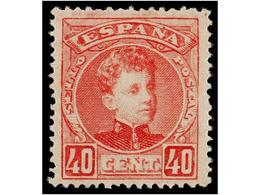 328 ** ESPAÑA. Ed.251. <B>40 Cts.</B> Rosa. Centraje Prefecto. LUJO. Cert. CEM. Cat. 840?. - Postzegels
