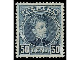 329 ** ESPAÑA. Ed.252. <B>50 Cts.</B> Azul. Centraje Perfecto. LUJO. - Postzegels