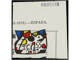 728 ** ESPAÑA. Ed.2609dh. <B>PICASSO. 100 Pts.</B> <B>DENTADO DESPLAZADO.</B> - Postzegels