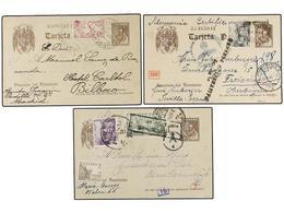 887 ESPAÑA ENTEROS POSTALES. Ed.86 (5). <B>15 Cts.</B> Castaño. Cinco Enteros Postales Circulados Al Exterior Con Difere - Stamps