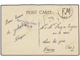901 ESPAÑA GUERRA CIVIL. 1939. Tarjeta Postal Circulada A FRANCIA. Marca<B> CONTRE-TORPILLEUR 'MALIN'</B> Buque Francés  - Postzegels
