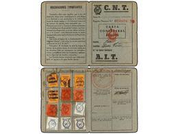 932 ESPAÑA GUERRA CIVIL. 1937-38. <B>CARNET DE LA CNT/AIT</B> Con Cupones De Cuota En El Interior. - Timbres