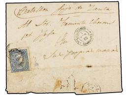 1041 MARRUECOS. 1866 (1 Enero). CALATAYUD A CEUTA. Carta Enviada A Un Militar De Campaña Circulada Con Sello De <B>4 Cua - Timbres