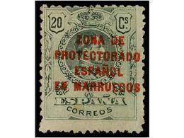 1047 * COLONIAS ESPAÑOLAS: MARRUECOS. Ed.NE 4. <B>NO EMITIDO. 20 Cts.</B> Verde, Habitual Centraje, Goma Oscurecida. Cat - Postzegels