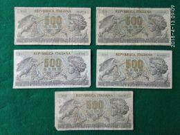 5 Banconote Da 500 Lire - [ 2] 1946-… : República