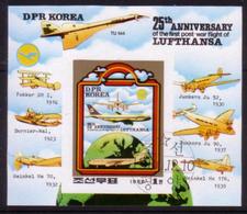 Korea 1980 S/S 25th Anni First Post-War Flight Lufthansa Military Airbus Airplanes Transport Aviation Stamp CTO Mi BL85 - Airships