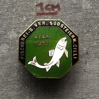 Badge (Pin) ZN006770 - Fishing (Fischerei / Ribolov) Slovenia Austria Germany Südsteiermark Celje (Cilli) 1912 - Badges