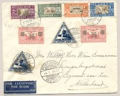 Nederlands Indië - 1934 - Serie Crisiswerk Op LP-cover Met Postjager/Medan Naar Egmond Aan Zee - Nederlands-Indië
