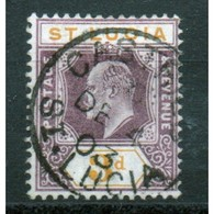 St Lucia Edward VII 3d Stamp From 1902.  This Stamp Is In Fine Used Condition And Is Catalogue Number 61. - St.Lucia (...-1978)