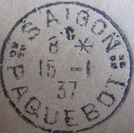 LOT A43 - ✉ SAÏGON (VIETNAM) 15 JANVIER 1937 > SEBASTOPOL / CALIFORNIE (ETATS-UNIS) - CàD PAQUEBOT SAÏGON - Maritime Post