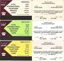 Qatar Telecard / Q-Tel First Issue, Set Of 3 Early Cards (25,50 & 100 Rls.) - Qatar