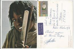 Ethiopia Youth Color PPC Addis Abeba 8apr1974 To Italy With Harar Costume C35 Solo - Ethiopia
