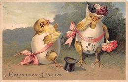 ¤¤   -   Carte Gauffrée  -  Heureuses Pâques  -  Oeufs , Poussins  -  ¤¤ - Pâques