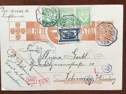 B2 Portugal Ganzsache Stationery Entier Postal P 87 Von Lissabon Mit Zensur Nach Schwaig Bei Nürnberg - Ganzsachen