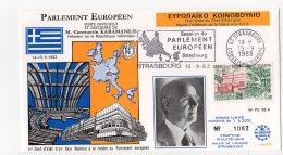 1983 -Strasbourg -Conseil De L'Europe -Visite Officielle Et Discours De Mr Constantin KARAMANLIS Pdt De  Rép. Hellenique - Covers & Documents
