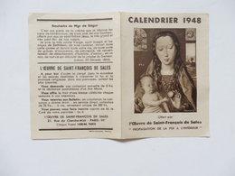 Petit Calendrier 1948 Offert Par L'oeuvre De Saint-François De Sales 21, Rue Du Cherche-Midi à Paris 6éme. - Calendriers