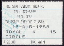 "The Shaftesbury Theatre - Londen - Musical ""Follies""- Stephen Sondheim - 18-08-1988 - Toegangskaarten"