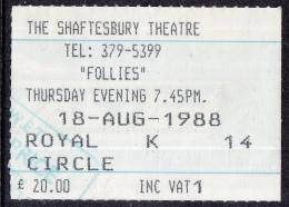 """The Shaftesbury Theatre - Londen - Musical """"Follies""""- Stephen Sondheim - 18-08-1988 - Eintrittskarten"""