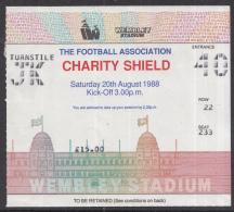 Voetbal - Charity Shield 1988 Liverpool - Wimbledon - Wembley Stadium - Londen - 20-08-1988 - Biglietti D'ingresso