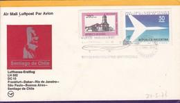 ARGENTINE. LUFTHANSA FIRST FLIGHT FRANKFURT DAKAR RIO DE JANEIRO SAO PAULO BUENOS AIRES SANTIAGO DE CHILE.-TBE-BLEUP - Poste Aérienne