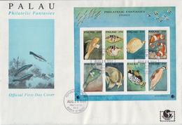 Palau Marine Life Sheetlets On 2 FDCs - Marine Life