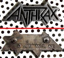 1 Beau Pin's Officiel Double Fixation ANTHRAX 1989 En Métal Argenté - Music