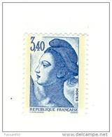 Liberté 3fr40 Bleu YT 2425 Avec GOMME MATE Et PAPIER WHILEY . Rare , Voir Le Scan . Cote Maury N° 2431c : 20 € - Errors & Oddities