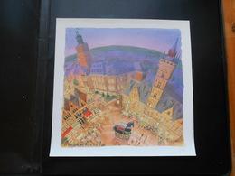 Zicht Op De Grote Markt En Het Ros Beiaard Dendermonde Kunstenaar Patton 60cm Op 60cm - Topographical Maps